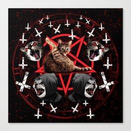 satanic cat pentagram death black metal band exorcist Canvas Print
