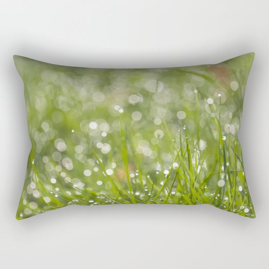 Fresh green meadow - Green grass with waterdroplets sparkling in the sun on #Society6 Rectangular Pillow