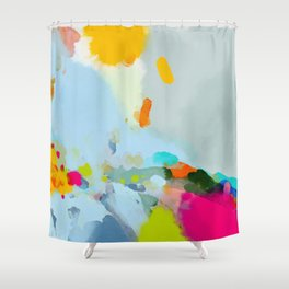 pink hill with sun ray Shower Curtain