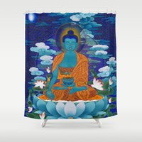 medicine Shower Curtains featuring Medicine Buddha by Kalsang Dawa