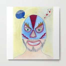 Blue Wrestler Metal Print