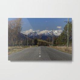 Where the Mountains meet the Road - Wanaka, New Zealand Metal Print