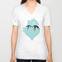 pastel goth V-neck T-shirts featuring Pastel Goth Heart by Minette Wasserman