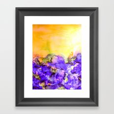 INTO ETERNITY, YELLOW AND LAVENDER PURPLE Colorful Watercolor Painting Abstract Art Floral Landscape Framed Art Print