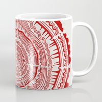 tree rings Mugs featuring Red Tree Rings by Cat Coquillette