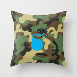 CAMO & LIGHT BLUE BOMB DIGGITY Throw Pillow