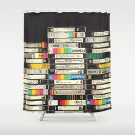 VHS Stack Shower Curtain