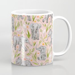 Baby Elephants and Egrets in watercolor - blush pink Coffee Mug