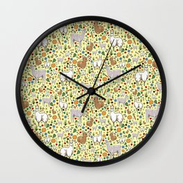 Cute Llama Pattern Wall Clock