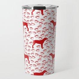 Big Red Dog and Paw Prints Travel Mug