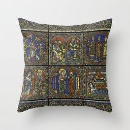 Stained Glass Feuille A Monografie de la Cathedrale de Chartres - Atlas - Vitrail de la vie de Jesus Throw Pillow