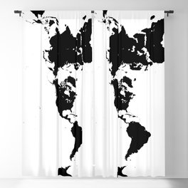 Dymaxion World Map (Fuller Projection Map) - Minimalist Black on White Blackout Curtain