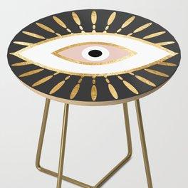 gold foil evil eye in blush Side Table