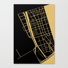 Toronto Map 1 - Gold on Black Canvas Print