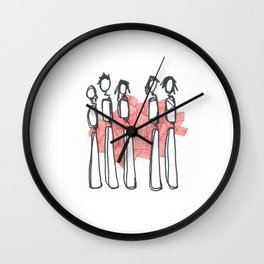 People with Red Lines Wall Clock