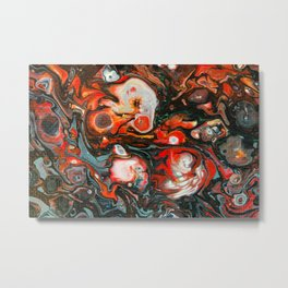 Fluid Art Acrylic Painting, Pour 22, Red, Gray, Black, & White Blended Color Metal Print