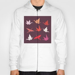 Japanese Origami paper cranes sketch, symbol of happiness, luck and longevity Hoody