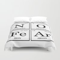 periodic table Duvet Covers featuring No Fear Elements Periodic Table by raineon
