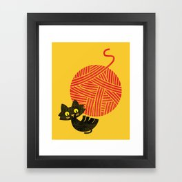 Fitz - Happiness (cat and yarn) Framed Art Print