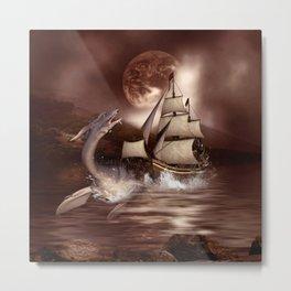 Awesome seadragon with ship Metal Print