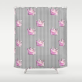 paradisebirds black dots and pink swans 2, home decor Graphicdesign Shower Curtain