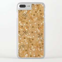 Pumpkin Spice Paw Prints Clear iPhone Case