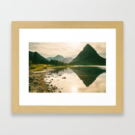 Mountain Reflecting the Lake in Many Glacier  Framed Art Print