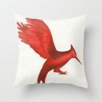 mockingjay Throw Pillows featuring Mockingjay CatchingFire by Blanca MonQnill Sole