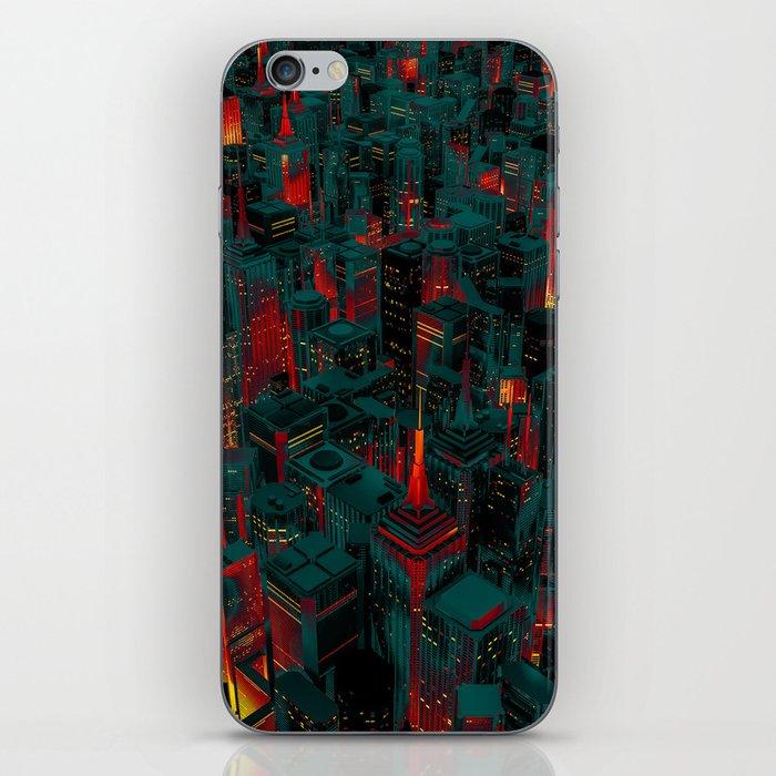 Night city glow cartoon iPhone Skin