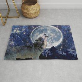 One Wolf Moon - Wildlife Art Rug