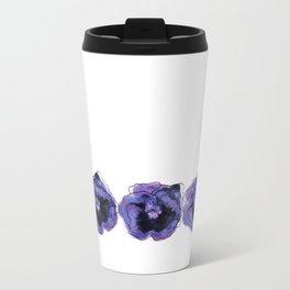 Purple Pansy Pattern Metal Travel Mug