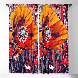 Meadow Poppies Autumn Blackout Curtain