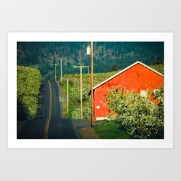 Hilly Country Road, Hood River Valley, Oregon Art Print