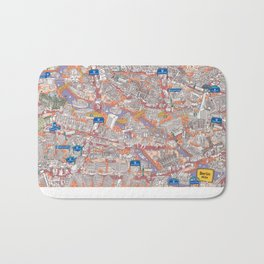 Illustrated map of Berlin-Mitte. Red Bath Mat