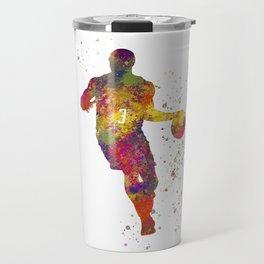 Basketball player 06 in watercolor Travel Mug