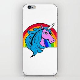 Colorful Cartoon Unicorn Rainbow - Blue iPhone Skin