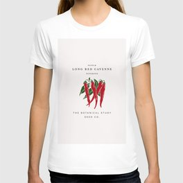 Botanical seed packet illustration - Cayenne pepper T-shirt