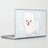 pomeranian Laptop & iPad Skins featuring White Pomeranian by Pati Designs & Photography
