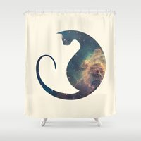 space cat Shower Curtains featuring Space Cat by Kit & Cat