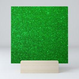 Emerald Green Shiny Metallic Glitter Mini Art Print