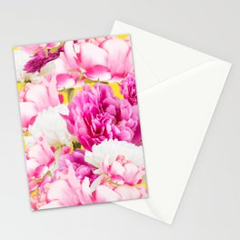Beauties of nature - large pink flowers on a yellow background #decor #society6 #buyart Stationery Cards