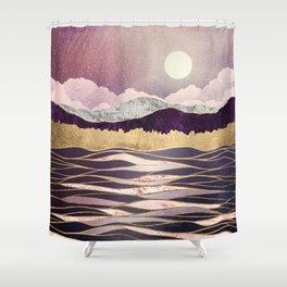 Lunar Waves Shower Curtain