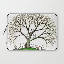 Bull Terriers Whimsical Dogs in Tree Laptop Sleeve