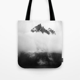 Teton in the clouds Tote Bag