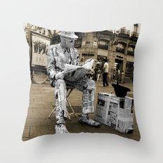 Newspaper Man Throw Pillow