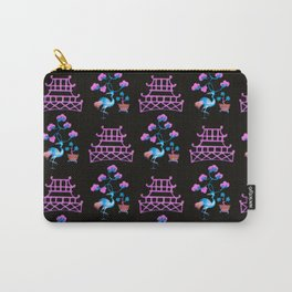 Asian Pagoda Garden Repeat in Rose and Onyx Carry-All Pouch