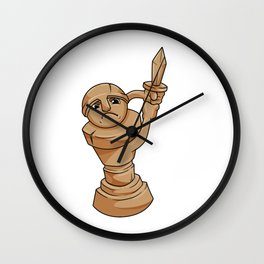 Pawn Chess piece at Chess with Sword Wall Clock
