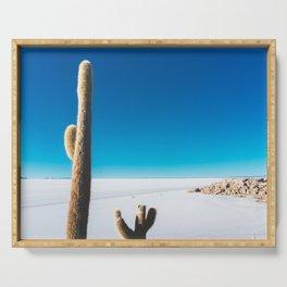 Cactus on Isla Incahuasi, Salt Flats, Bolivia Serving Tray