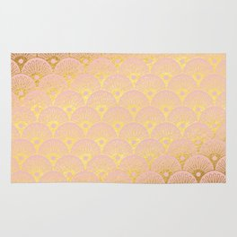 Gold and pink sparkling Mermaid pattern Rug