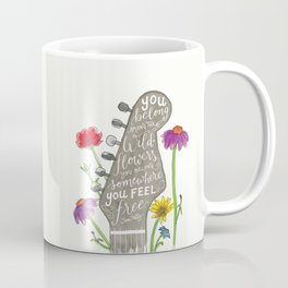 You belong among the wildflowers. Tom Petty quote. Watercolor guitar illustration. Hand lettering. Coffee Mug